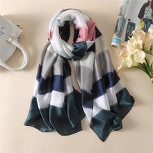 2017 luxury brand women scarf fashion summer shawls wraps lady soft long size pashmina striped print silk scarves bandana stoles(China)