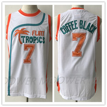 Flint Tropics Semi Pro Movie # 7 Coffee Black Costumes Embroidery Mesh Blue White Basketball Jersey