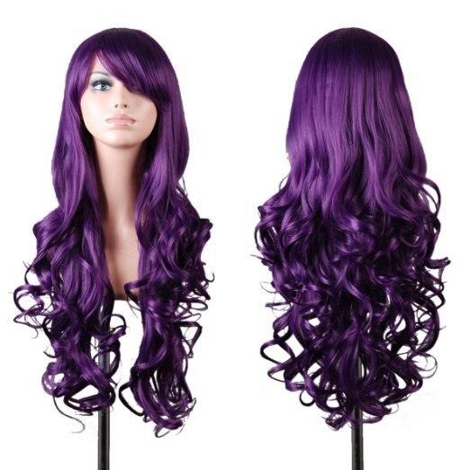 80cm 32 High Quality Womens Cosplay Wig Long Full Curly Wavy Dark Purple Hair Wig Hairpiece Halloween Peruca Pelucas<br><br>Aliexpress