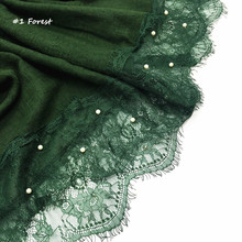 Hot sale luxury 2 sides lace edges pearls plain solid shawl viscose muslim women scarves hijabs beads scarf Eid gifts 150pcs/lot(China)