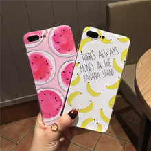 Pink Girl Fruits Cases For iPhone 6 7 Plus Fruits Cases Banana Lemon Strawberry Watermelon For iPhone 6S Back Cover Phone Coque