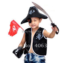 Free Shipping ,Children Pirate costume Set( waistcoat Pirate hat eyeshade Earrings eagle hook knife,and flag party suppliers(China)