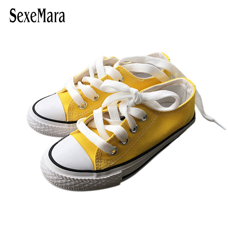 New Student Shoes Anti-Slippery Flats Shoes Black/Red/White/Pink/Yellow Children Sneakers Toddlers Boys Canvas Shoes Girl A02121