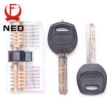 NED Cutaway Inside View Of Practice Transparent Padlock Lock Training Skill Pick View Padlock For Locksmith With Smart Keys