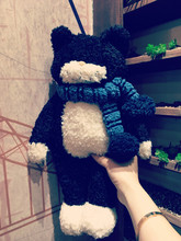 1pc 42cm cute black cat scarf soft plush pacify doll pillow creative funny stuffed toy romantic girl boy children gift