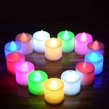 24pcs/set 7 Colors Flickering Flameless LED Candle Mini Battery Operated Tea Lights New Arrive Realistic Led Tea Light Candle