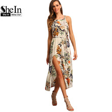 SheIn Multicolor Floral Print Halter Boho Maxi Dresses Women Summer Beach Spaghetti Strap Patterned Backless Split Dress
