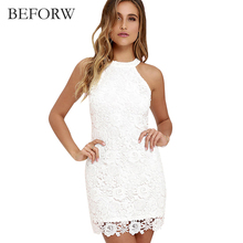 BEFORW Summer Lace Dress Women Fashion Office Vintage Dresses White Blue Sleeveless Hanging Neck Women Clothing Vintage Dress