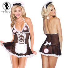 Buy ALINRY Sexy Lingerie Erotic Maid Uniform Temptation Lenceria Sexy Women Underwear Black Net Yarn Babydoll Perspective Chemise