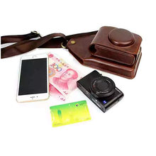 Black/Brown/Coffe/Pink Shoulder Digital Camera Leather Case Cover For Sony RX100 M1 M2 M3 M4 HX90 HX30 WX500 W830 W800 W730(China)