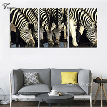 Large Zebra Painting Modern Wall Decor Pictures White And Black African grassland Animal Art Canvas For Living Room (No Frame)
