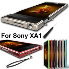 For Sony Xperia XA1 case Aluminum Alloy Bumper + lanyard hard case for Sony Xperia Xa1 matel fame XA1 daul case + screwdriver(China)