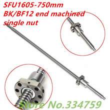 SFU1605 ballscrew set : 1 pc SFU1605 750mm ballscrew + 1 pc 1605 Ball Screw Nut for cnc parts BK/BF12 machined