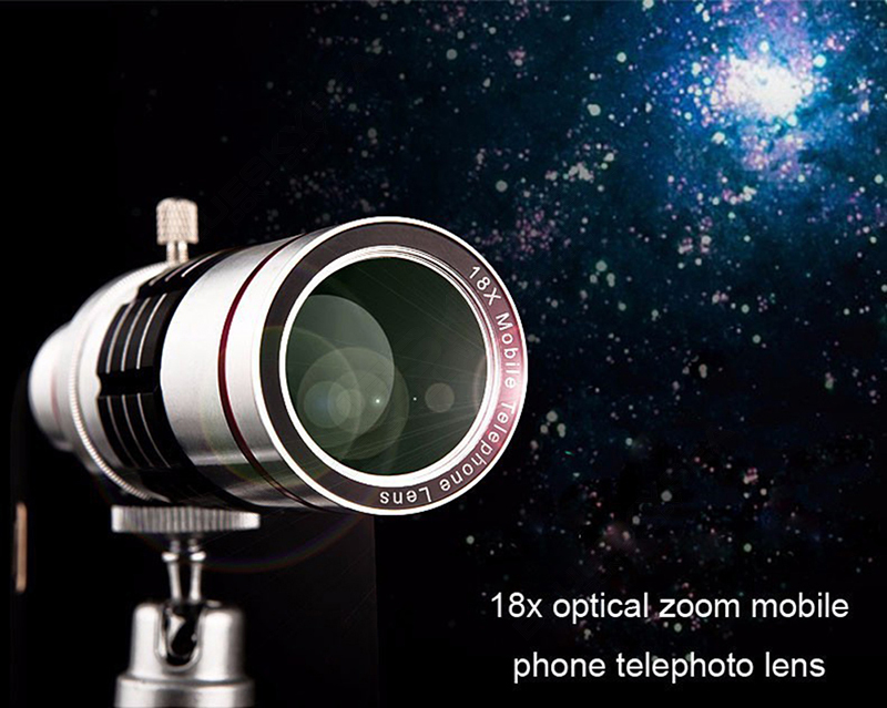 Universal 18x zoom lens Magnification Optical Camera Telephoto Lens Telescope With mini Tripod For Iphone Smartphone Gold 2