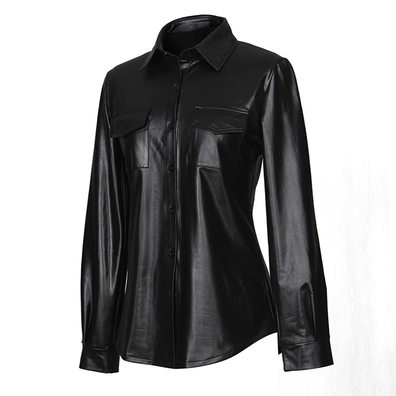 Kostlich Sexy Pu Leather Long Sleeve Blouse Women Shirts Fashion Spring Autumn Women Tops Black Red Ladies Blouses Casual Shirt (25)