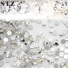 STZ 1440pcs/lot Nail Art Rhinestones White Crystal Clear Flatback Non Hotfix DIY Tips Sticker Beads Nail Jewelry Accessory NR01