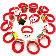 New 10Pcs Girls Merry Christmas Headband Flower Hair Elastic Bands Red Hair Accessories Bow Animals Pattern Ropes Ties Gift