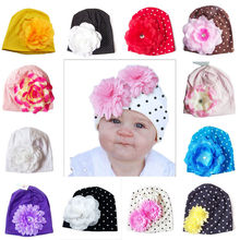 Cute Infant Newborn Baby Girls Hat 2017 New Flower Hats Knitted Beanie Caps Fashion Headwear(China)