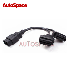 Auto 16-pin Male to 2 Female ELM327 OBD2 OBD II Extension Adapter Cable 1 to 2 Free Shipping