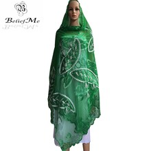 BM259! African women scarfs,2017 Muslim Embroidery Women Net scarf ,Green scarf big size scraf for shawls wraps pashmina(China)