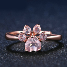 KUNIU Rose Golden Cute Pink Crystal Cat Claw Opening Ring For Women Elegant Party Jewelry Rhinestones Noble Ring For Best Gift(China)
