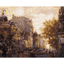 scenery picture sunset coloring by number on canvas diy oil painting city buliding 40X50cm handmade painting oil canvas E152