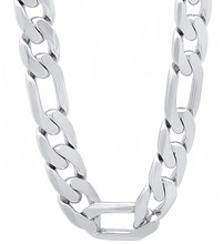 Silver plated 12mm MEN Figaro Chains Necklaces 22inch,24inch,26inch ,High Quality Chain Necklace for men, women