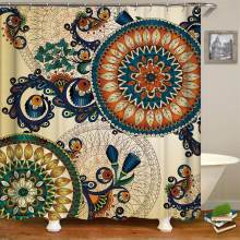 Ethnic Decor Shower Curtain By Boho Pattern With Floral And Peacock Feather Fabric Bathroom Cuatain Hooks