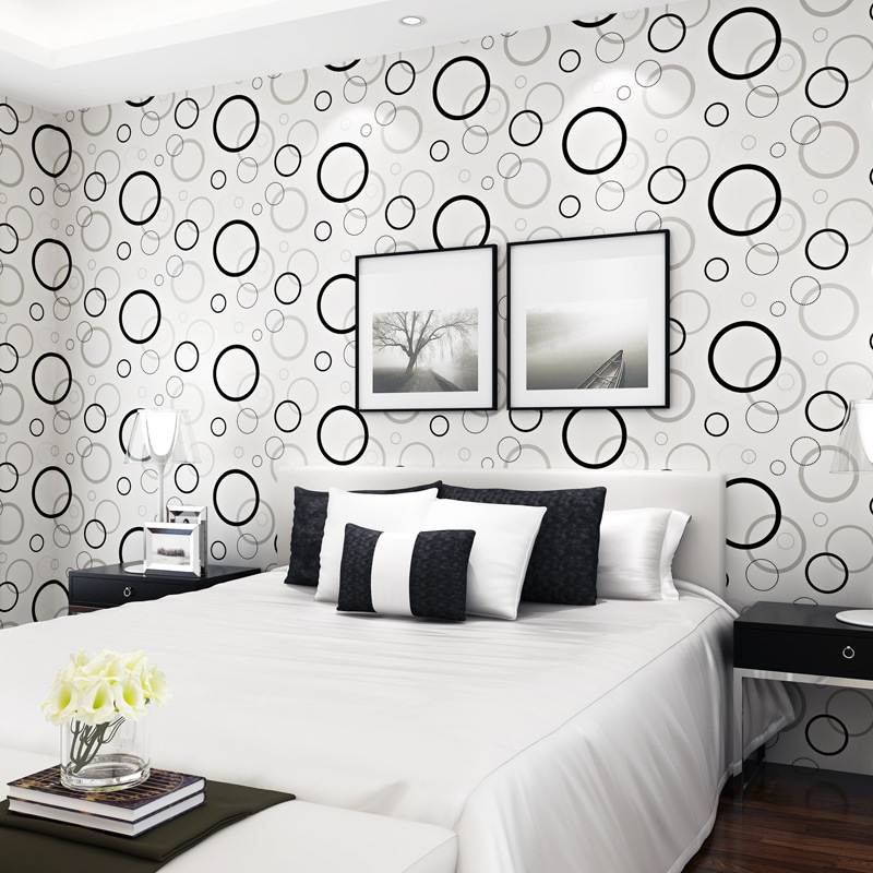 beibehang black circle Wallpaper Roll for Living Room mural Wallpaper For Walls Papel De Parede 3D papel contact contact-paper<br>