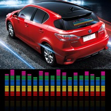 90*25cm Car Sticker Music Rhythm LED Flash Light Lamp Sound Activated Equalizer Interior Atmosphere Car Decoration