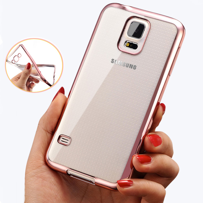 Phone Case For Samsung Galaxy S5 Ultra Thin Clear Plating Electroplating TPU Soft Mobile Phone Cases For Galaxy i9600 G900F