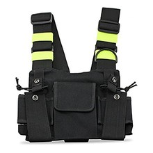 Abbree Bright Green Radio Chest Harness Chest Front Pack Pouch Holster Vest Rig Carry Cade for Two Way Radio Walkie Talkie