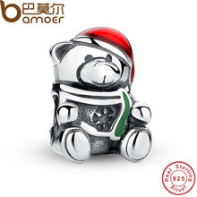 BAMOER 925 Sterling Silver Christmas Teddy Bear Red & Green Enamel Charm Bead Fit Bracelet Original Jewelry PAS254