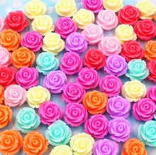 100pcs/lot flat back resin flowers mix colors kawaii resin rose DIY resin cabochons accessories14mm(China)