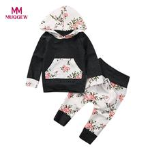MUQGEW 2pcs Toddler Infant Baby Boy Girl Clothes Set Floral Hoodie Tops+Pants Outfits Cotton Winter Warm children's Clothing set(China)