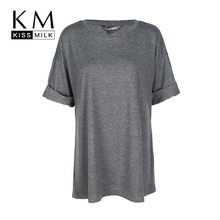 Kissmilk Plus Size Women Clothing Casual Solid Loose Top Tees O-Neck Slim Basic T-shirt Oversized Short Sleeve Big Size Shirt(China)