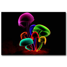 Mushroom - Psychedelic Trippy Art Silk Fabric Poster Print 13x20 24x36inch Abstract Wall Picture Living Room Decor