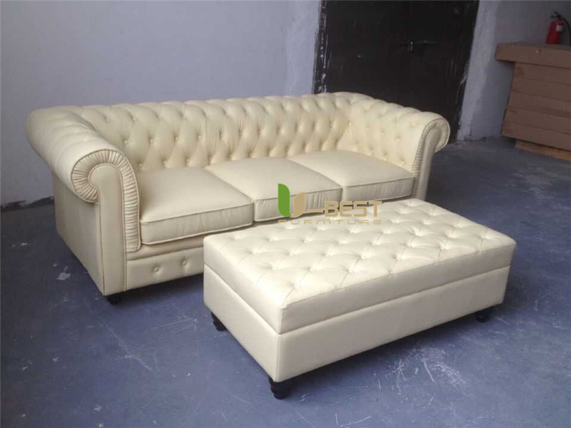 beige color top grain Chinese real cow leather chesterfield sofa (4)