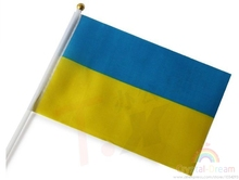 10pcs/lot 14 * 21 cm Ukrainian flag waving hand wave flags banner free shipping