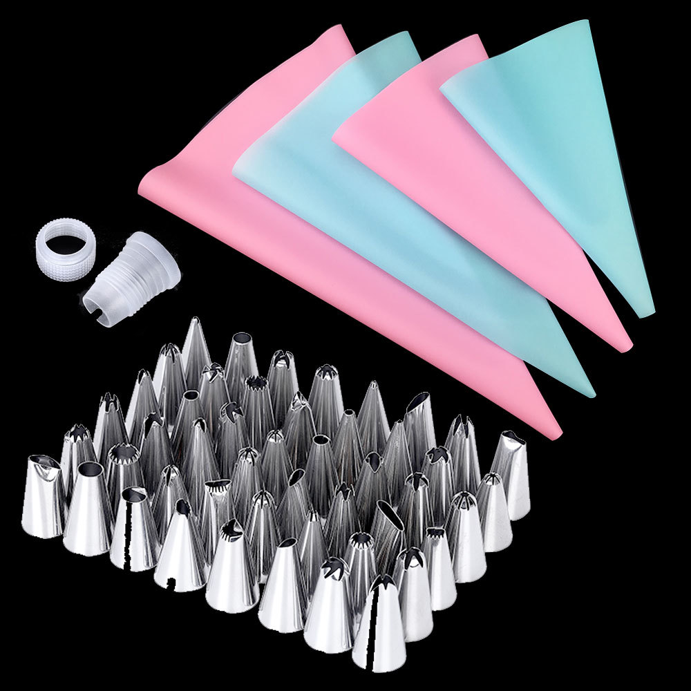 57PCSSet 4Size Silicone Icing Piping Cream Pastry Bag+48x Stainless Steel Nozzle Tips+5x Converter DIY Cake Decorating Tools (1)