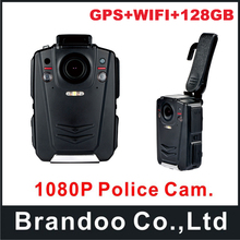 128GB Built-in GPS Police Body Worn Camera IR Night Camera 12hours HD 1080P with WIFI function