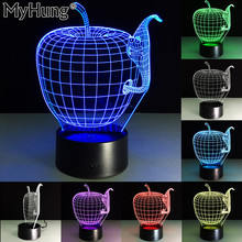 3D Apple Shape Night Lights Color Changing Usb Lamp Night Light Colorful For Desk Lamp Visual Led Novelty Lighting Touch 7 Color(China)