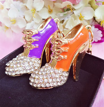Min.$15 (Mixed Order) Crystal orange purple heels shoes keychain Pendant Charms Rhinestones cell phone case DIY Alloy Decoration