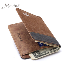 2017 Vintage Designer Jeans Canvas Men Slim Thin Wallet Male Bifold Leather Small Brand Purse Card Holder Coin Dollar Portomonee