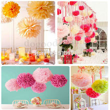 "10pcs/set Wedding Decorative 25cm(10"")Props Supplies Tissue Paper Pom Poms Wedding Party Festival Decoration Wholesale retail(China)"