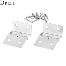 DRELD 2Pcs Kitchen Cabinet Door Folded Hinges Furniture Accessories 5 Holes Drawer Hinges for Jewelry Boxes Furniture Fittings(China)