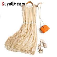 Women Silk long dress Luxury 100% Natural silk Solid Champange Pleated dress Sleeveless Cheer silk chiffon dress 2017 Spring