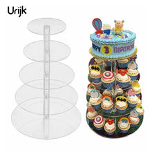 Urijk Assemble and Disassemble Cake Holder Round Acrylic 3/5 Tier Cupcake Cake Stand Decorating Birthday Tools Party Stands(China)