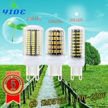 YIOE High Luminous G9 5733 SMD LED Corn Bulb 220V 110V 9W 11W 13W 80/108/136 Spotlight LED Lamp Candle Light For home Lighting(China)