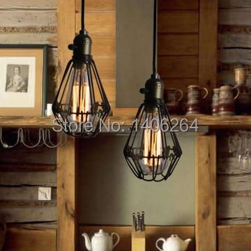 Loft Vintage Edison Industrial Metal Pendant Hanging Lights Cage Iron Cafe Bar Hall Club Store Restaurant Bedroom Pendant Lamps<br><br>Aliexpress